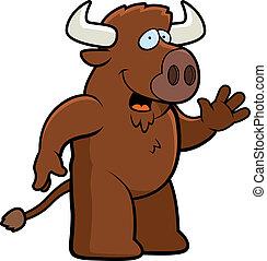 A happy cartoon buffalo waving and smiling.