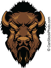 Graphic Mascot Image of a Buffalo Bison Head