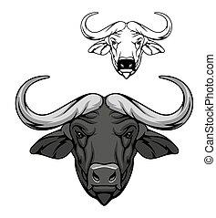 Buffalo bull head icon, wild animal mascot