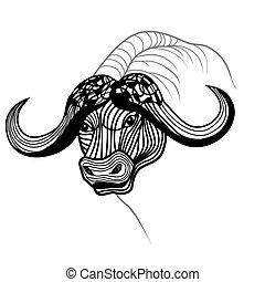Buffalo bull head vector animal illustration for t-shirt.