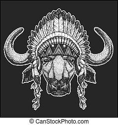Buffalo, bull, ox Cool animal wearing native american indian headdress with feathers Boho chic style Hand drawn image for tattoo, emblem, badge, logo, patch