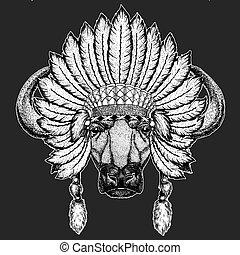 Buffalo, bull, ox Traditional ethnic indian boho headdress Tribal shaman hat Ceremonial element