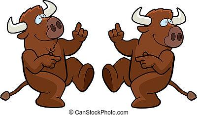 A happy cartoon buffalo dancing and smiling.