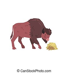 Buffalo Eating Hay, Bison Animal, Side View Vector Illustration
