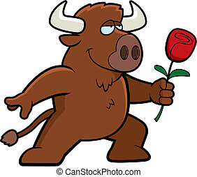 Buffalo Flower - A happy cartoon buffalo with a flower.