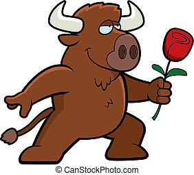 A happy cartoon buffalo with a flower.