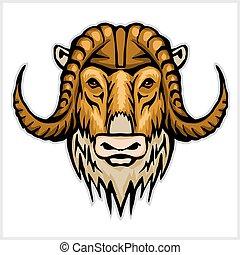 Buffalo head emblem isolated on white background. Design element for logo, label, sign, brand mark.