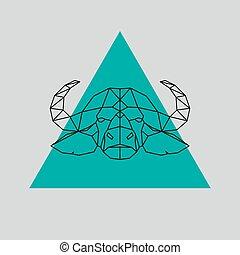 Buffalo head geometric lines silhouette.