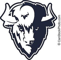 Buffalo Head Logo Mascot Emblem. Talisman college sports...