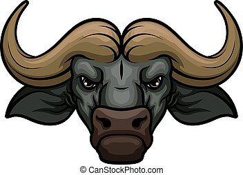 Buffalo head muzzle vector mascot icon