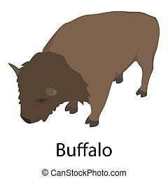 Buffalo icon, isometric style