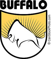 Buffalo logo. Color vector image of a buffalo on a yellow background with rays. The basis of