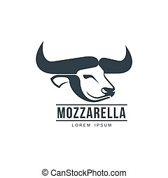 Buffalo mozzarella italian cheese brand, logo icon