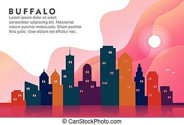 Buffalo New York City Building Cityscape Skyline Dynamic Background Illustration