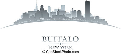 Buffalo New York city skyline silhouette white background - ...