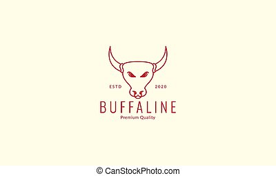 buffalo or cow head line modern  logo vector icon design illustration