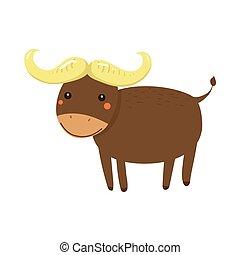 Buffalo Realistic Childish Illustration