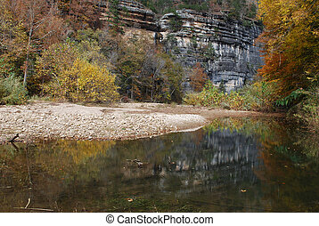 Buffalo River in Arkansas - The rock cliff and autumn colors...