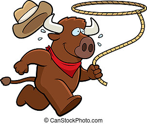 A happy cartoon rodeo buffalo running with a lasso.
