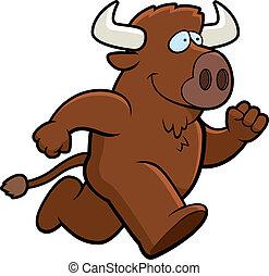 A happy cartoon buffalo running and smiling.