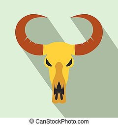 Buffalo skull flat icon
