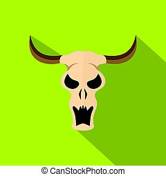 Buffalo skull icon, flat style