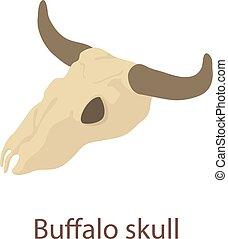 Buffalo skull icon, isometric 3d style - Buffalo skull icon....
