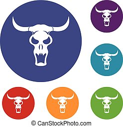 Buffalo skull icons set
