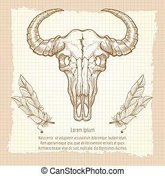 Buffalo skull on vintage background