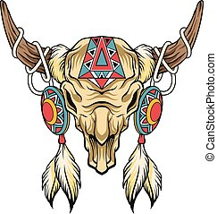 Buffalo skull. Vector art illustration