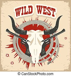Buffalo skull western card with wild west text on old paper