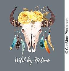 Buffalo skull with feathers - Vector illustration of buffalo...
