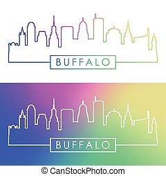 Buffalo skyline. Colorful linear style.