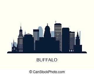 Buffalo skyline, monochrome silhouette.