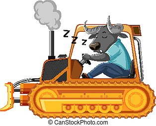 Buffalo sleeping while driving tractor on white background