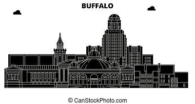 Buffalo, United States, vector skyline, travel illustration, landmarks, sights.