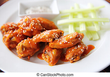 Buffalo wings fried chicken with spicy sauce