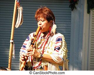 Buffalo Woman with flute