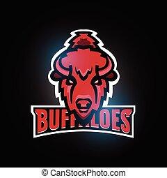Buffaloes sport team logo template design. Bull head