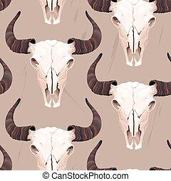 buffel, seamless, schedel