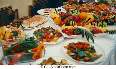 buffet, beautiful dishes are on the table