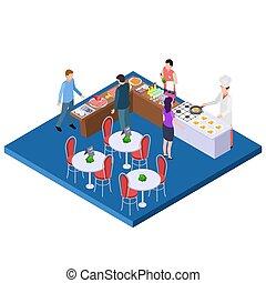 Buffet breakfast restaurant 3d isometric vector concept