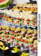 buffet, cibo, closeup