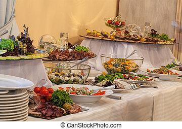 buffet, con, differente, antipasti