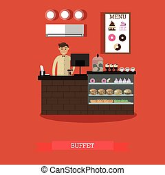 Buffet concept vector illustration in flat style