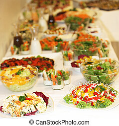 buffet, de, vario, platos