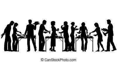 Buffet - EPS8 editable vector silhouettes of people enjoying...