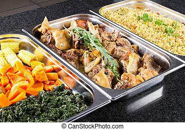 buffet, estilo, alimento