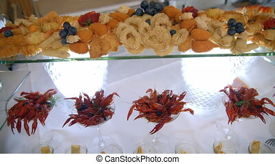 buffet, fish and seafood, snacks