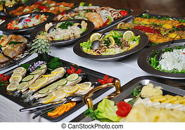 buffet food - buffet catering food arangement on table